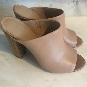 H by Halston Leather Peep Toe Mules Sz 8